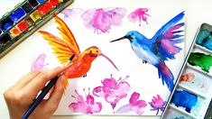 Easy Watercolor Birds Painting for Beginners – Loose Watercolor Techniques – Drawing Techniques Watercolor Painting Techniques, Watercolour Tutorials, Drawing Techniques, Watercolor Paintings, Painting Tutorials, Watercolor Hummingbird, Easy Watercolor, Simple Wall Art, Watercolor Illustration