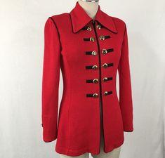 6a4389d54d239 St John Collection Marie Gray Santana Knit Jacket Red Black Long Zip Size 2