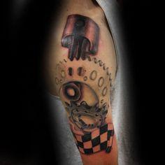 70 Motocross Tattoos For Men - Dirt Bike Design Ideas Dirt Bike Tattoo, Motocross Tattoo, Bike Tattoos, Gear Tattoo, X Tattoo, Tatouage Dirt Bike, Racing Tattoos, Creative Tattoos, Bike Design