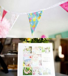 I like this idea of using a first-year album as a guest sign-in book for a 1st birthday party
