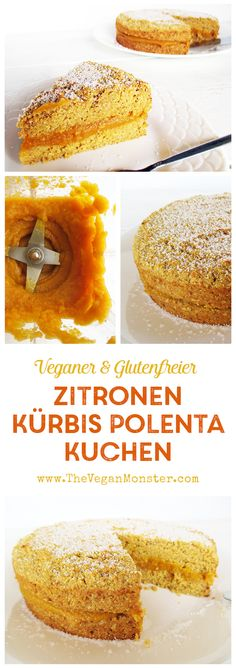 Veganer Glutenfreier Milchfreier Zitronen Kürbis Polenta Kuchen ohne Ei und ohne Öl