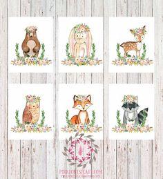 Set Lot of 6 Woodland Boho Bohemian Garden Floral Nursery Baby Girl Room Playroom Prints Printable Print Wall Art Home Decor