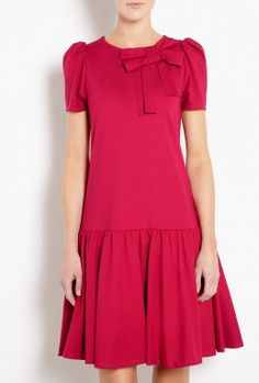 Bow Detail Crepe Dress by Red Valentino