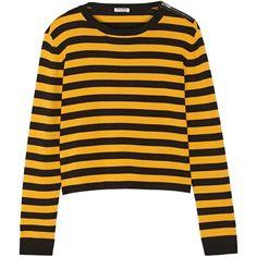 Miu Miu Miu Miu - Striped Wool-blend Sweater - Saffron (940 BRL) ❤ liked on Polyvore featuring tops, sweaters, shirts, jumpers, saffron, zip sweater, shirt sweater, yellow sweater, yellow striped sweater and cut loose shirt