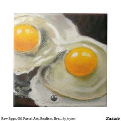Raw Eggs, Oil Pastel Art, Realism, Breakfast Small Square Tile