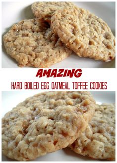 AMAZING Hard Boiled Egg Oatmeal Toffee Cookies - use hard boiled eggs in the batter - surprisingly delicious! Great way to use up hard boiled eggs.