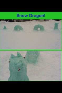Instead of making a regular snowman, make a snow dragon! All u do is make the center sections by putting two snowballs (whatever size you want) by each other with a small amount of space in between. Put one more snowball (it should probably be smaller than the other two) in between the other two. The other two should keep the one up top. Once you smooth it down, it should look like a half donut. Make as many of those as you want, depending on hong long you want your dragon to be. Once you're…