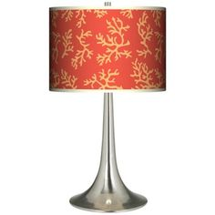 Tangerine Coral Giclee Trumpet Table Lamp