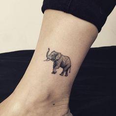 elephant tattoo ankle