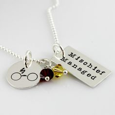Mischief Managed Harry Potter Inspired Sterling Silver Necklace - hand stamped harry potter necklace - lightning bolt scar and glasses
