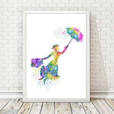 Mary Poppins Art Print Disney Poster Watercolor Illustration Nursery Art Home…
