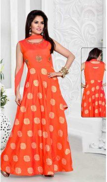 0bc8de22ab A Line Crystals Stones Work Dark Orange Color Party Wear Slub Silk |  FHKF13625815 Follow us @heenastyle #style #fashion #i… | Readymade Churidar  Kameez ...