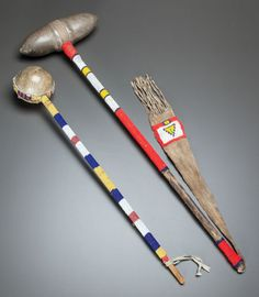 TWO PLAINS BEADED STONEHEAD CLUBS. c. 1890 and 1940... (Total: | Lot #50298 | Heritage Auctions