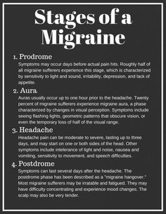 Need a Quick Migraine Cure? Learn How to Stop Migraines Fast There are four phases of a migraine: prodrome, aura, headache, and postdrome. Migraine Triggers, Migraine Diet, Migraine Pain, Chronic Migraines, Migraine Relief, Chronic Pain, Fibromyalgia, Chronic Illness, Visual Migraine