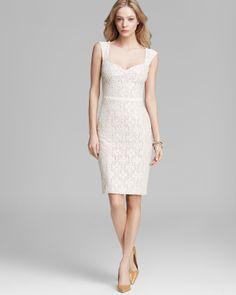 ABS by Allen Schwartz Dress - Cap Sleeve Lace Midi Sheath | Bloomingdale's