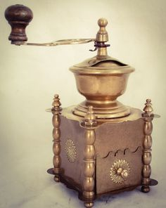 Antique Vintage European Solid Brass Coffee Grinder Table Box Hand Crank Mill