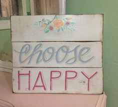 Choose Happy wall art girls bedroom inspiration shabby chic style white pink blue
