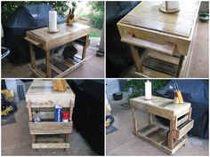 I needed extra workspace when I use my grill, so I made this cart from a few pallets. I got the design from combining ideas from several carts on this site. I only purchased two wheels, 8 lag bolts, and…