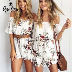 AZULINA Casual Off Shoulder Floral Print Women Romper Jumpsuit 2017 Summer Sexy Beach Loose Playsuits White Chiffon Overalls //Price: $26.97 & FREE Shipping //     #hashtag3