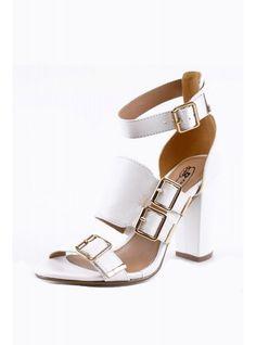 White Strap Buckle Block Heels | Glamorous UK