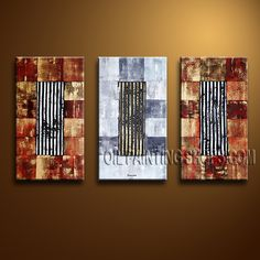 Astonishing Contemporary Wall Art Oil Painting On Canvas Gallery Stretched Abstract. This 3 panels canvas wall art is hand painted by Bo Yi Art Studio, instock - $135. To see more, visit OilPaintingShops.com