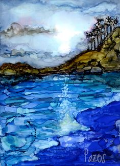 Original alcohol ink painting on Yupo by Carolyn Opderbeck, artist Sunset in the woods - MyKingList. Alcohol Ink Tiles, Alcohol Ink Crafts, Alcohol Ink Painting, Ink In Water, Art Journal Techniques, Cool Artwork, Architecture Art, Creations, Natural Dyeing