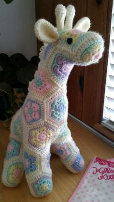 Another view of Jedi the curious giraffe (pattern by Heidi Bears) African flower motifs