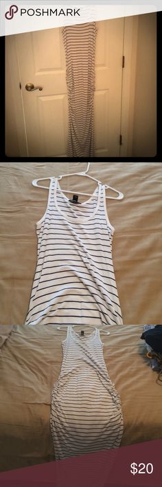 Victoria's Secret Maxi Dress Blue and white stripped maxi dress with scrunched sides. Only worn once. Victoria's Secret Dresses Maxi