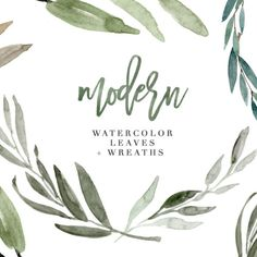 Modern Watercolor Leaves Clipart for Wedding Invitations 1
