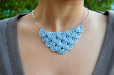 Baby Blue Lite Petal Necklace via Etsy -- this is so delicate and pretty.