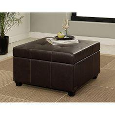 Mason Faux Leather Storage Ottoman, Dark Brown: Furniture : Walmart.com