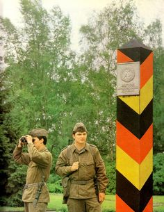 East German Borderline (GDR/DDR) - Warsaw Pact = A treaty of mutual defense and military aid signed at Warsaw on May by communist states of Europe under Soviet influence, in response to the admission of West Germany to NATO. The pact was dissolved in East Germany, Berlin Germany, Military Photos, Military History, Ddr Und Brd, Warsaw Pact, German Uniforms, Berlin Wall, Red Army
