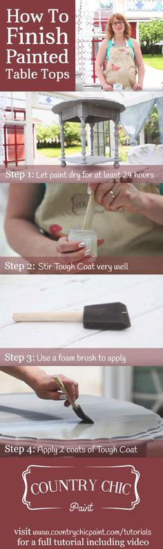 How to finish painted table tops | Top Coat / Varnish Tutorial #countrychicpaint - www.countrychicpaint.com/tutorials