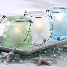 Sea Glass Tea Light Holder – Capture tropic sunlight in a glass, and let the glow illuminate your special event
