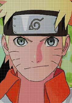 Naruto face anime cross stitch pattern in pdf Manga Naruto, Naruto Art, Cross Stitch Pattern Maker, Cross Stitch Patterns, Beaded Cross Stitch, Cross Stitch Embroidery, Pixel Art Grid, Pixel Art Templates, Perler Bead Art