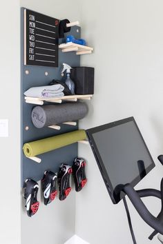 Gym Room At Home, Home Gym Decor, Peg Board Walls, Wooden Pegboard, Workout Rooms, Wall Shelves, Academia, Floating Shelves, Basement Gym