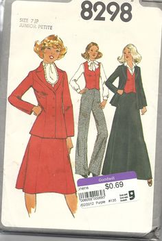 Simplicity 8298 Size 7JP (junior petite) Vest, pants, unlined jacket and skirt in two lengths. Suitable for poplin, duck, lt wt wool, flannel, denim, chino, chambray, linen etc. 1977. 96c from Goodwill.