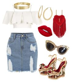 """""""Paris"""" by yasmineings on Polyvore featuring Topshop, Dolce&Gabbana, Yves Saint Laurent, Lime Crime and Fragments"""
