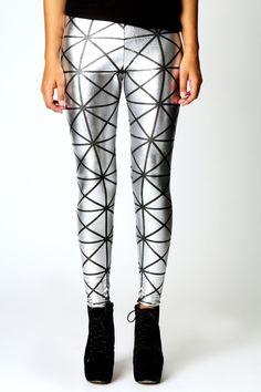 asymmetrical pattern metallic silver foil tights