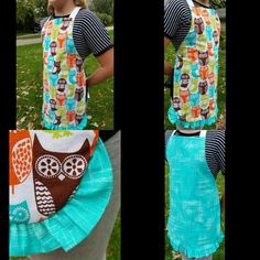 Kids or petite adult reversible apron with a handmade ruffle.  Sold,  but check out my other items! https://www.etsy.com/shop/TheLiliesCraftworks  #apron #etsy #kids #kidsapron #petite #owls #kitchen #cooking #art