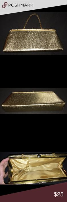Gold Glittery Clutch Handbag Twist Clasp This is a gold sparkly clutch with a chain handle and twist clasp closure on top. Gently used an very clean. No stains, scuffs, or rips. Keywords glam, glitter, sparkle, prom, purse, handbag, wallet, change Bags Clutches & Wristlets