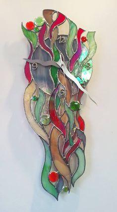 Reloj diseño vidriera