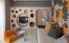 creative kids room design in orange-gray color combination