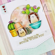 """140 Likes, 40 Comments - Anna L (@al_handmade) on Instagram: """"These two hedgehogs are having a lot of fun playing with succulents Aren't they funny? Stamps…"""""""