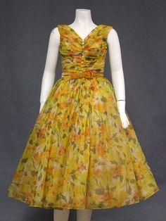 Superb Autumn Floral Chiffon 1950's Party Dress - Vintageous, LLC
