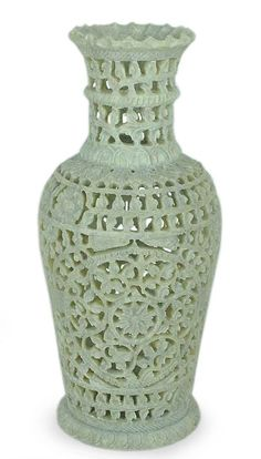 """Floral Honor :Fair Trade Soapstone Vase Decorative Hand Crafted  Product Code : VS-11  Size: 10"""" H x 4.7"""" W x 4.7"""" D  Weight: 1.9 lb"""