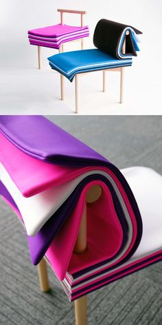 """Inspired by books, it allows the user to adjust the seat height and backrest cushioning simply by turning its colorful padded """"pages."""""""