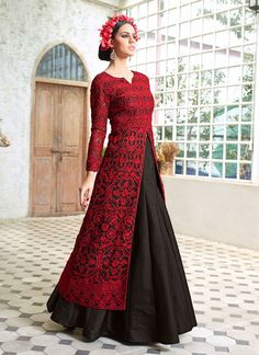 Black and Red Embroidered Long Choli Lehenga in Net