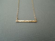 gold bar necklace hammered horizontal simple by greygoosegifts
