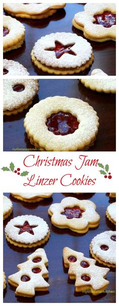 """A traditional Austrian jam biscuit which takes its name after the city of Linz. A fabulous shortbread crumbly """"jam sandwich"""" biscuit. Linzer Cookies, Jam Cookies, Sugar Cookies Recipe, Cupcake Cookies, Cookie Recipes, Yummy Recipes, Cupcakes, Christmas Jam, Christmas Baking"""
